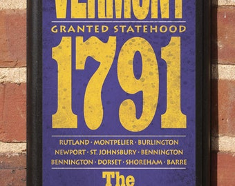 Vermont VT State Wall Art Sign Plaque Gift Present Home Decor Custom Personalized Color Burlington Barre New Port Rutland Montpelier Classic