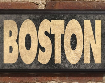 Boston MA Wall Art Sign Plaque Gift Present Personalized Color Custom Home Decor Vintage Style Red Sox Patriots Commons Cambridge Celtics