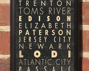 New Jersey NJ Cities Wall Art Sign Plaque Gift Present Home Decor Vintage Style Newark Paterson Atlantic City Garden State Classic