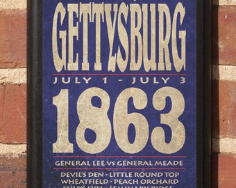 Gettysburg The Civil War Battle Wall Art Sign Plaque, Gift Present, Home Decor, Vintage Style, Classic Parks cemetery seminary general lee