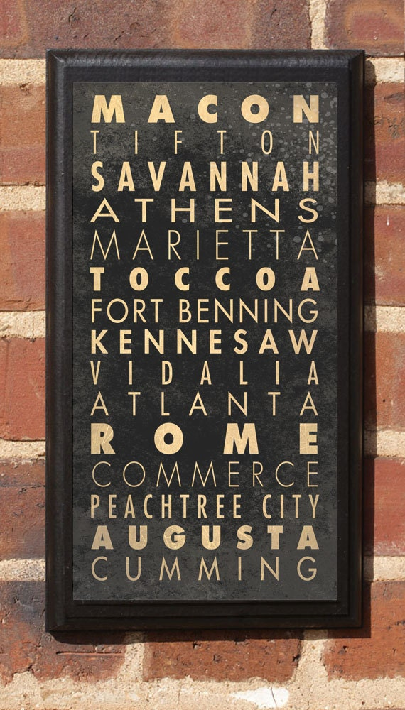 Cities of Georgia Subway Scroll Vintage Style Wall Plaque / Sign