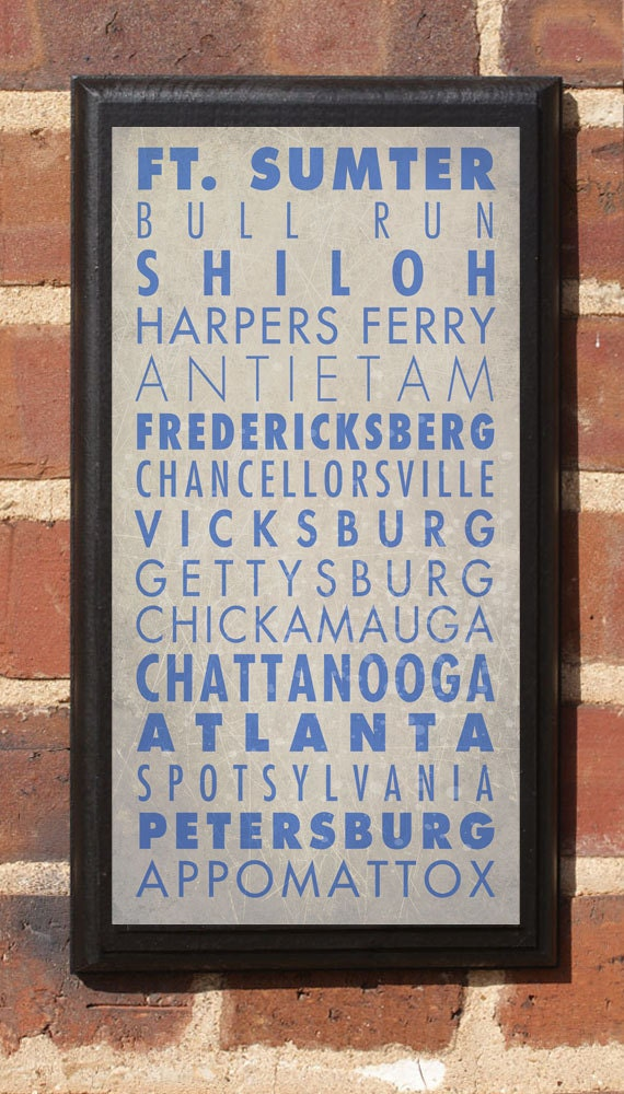 Civil War Blue & Gray Vintage Style Wall Plaque / Sign