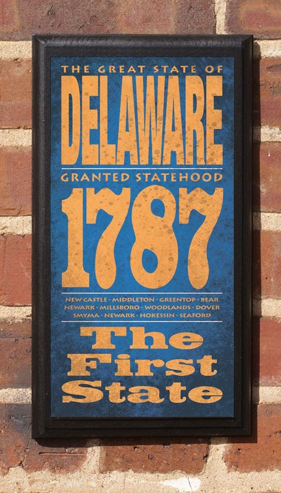 The State of Delaware Vintage Style Wall Plaque / Sign Decorative & Custom Color
