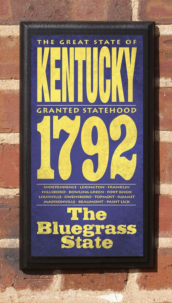 kentucky ky wall art sign plaque gift present personalized