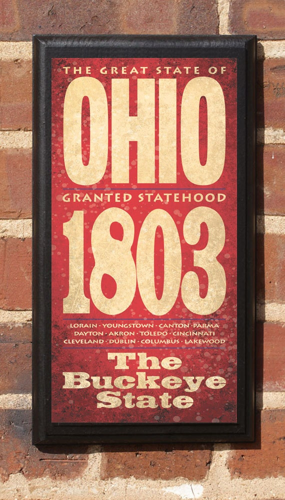 The State of Ohio Customizable Vintage Style Wall Plaque / Sign Decorative Custom Color