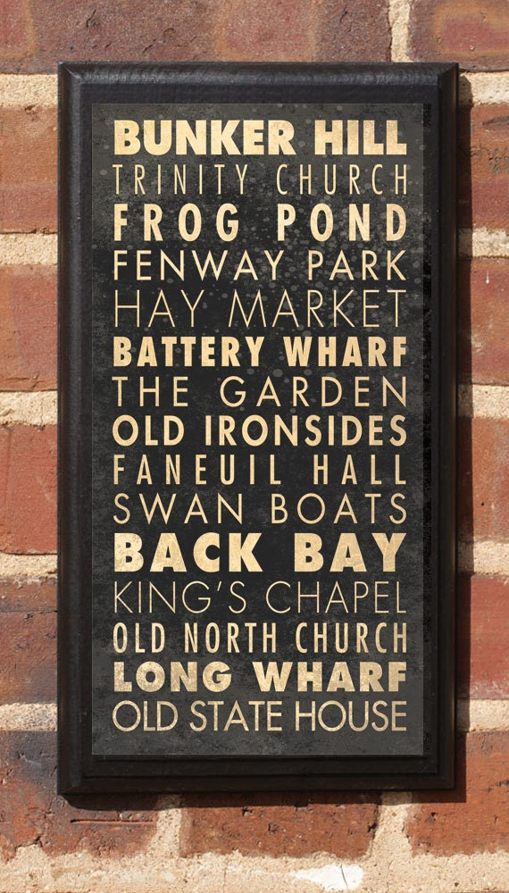 City of Boston Points of Interest Subway Transit Scroll Vintage Style Wall Plaque / Sign Wall Art Home Decor Gift