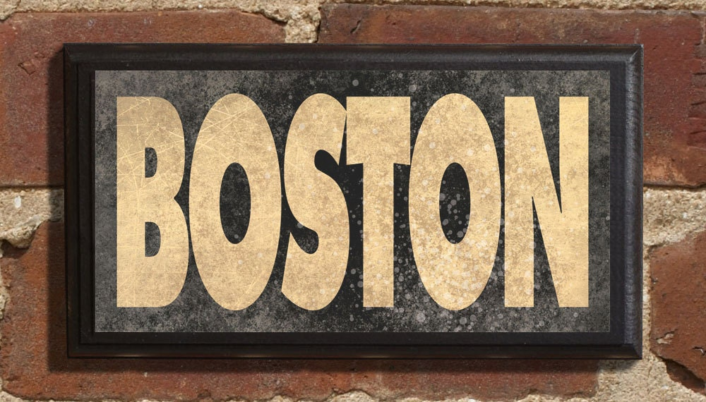 Boston Ma Wall Art Sign Plaque Gift Present Personalized Color