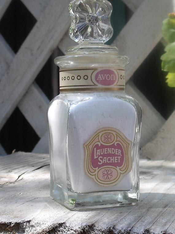 Vintage AVON Lavender Sachet Powder Jar - Shabby Chic