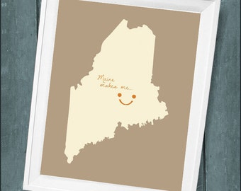 """Customized State or Country Print - Maine  Style - Sizes 5""""x7"""" up to 42""""x70"""""""