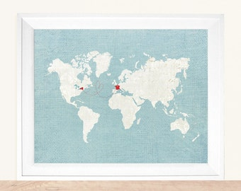 "Custom Map Gift, World Map, Personalized Map, Custom Map, Sizes: 5""x7"" up to 42""x70"""