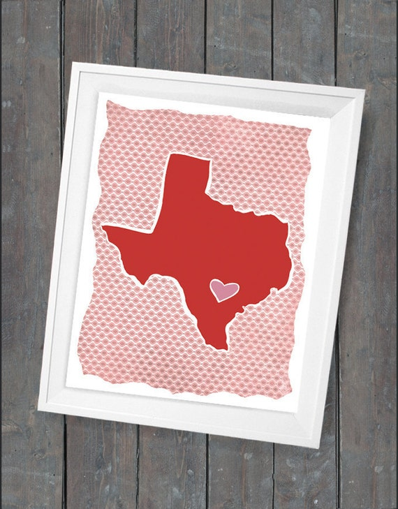 "Customized State or Country Print -   Texas Style  - Sizes 5""x7"" up to 42""x70"""