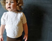 Beautiful snow white vintage toddler hand knit short sleeved sweater