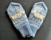 SALE Cozy knitted mittens and matching scarf, light blue with white reindeer, vintage