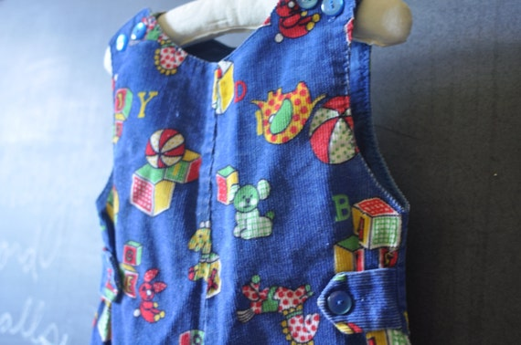 SALE  toddler corduroy overalls with blocks and bears vintage blue
