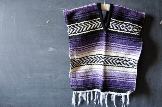 mexican rug poncho, vintage, childrens size, purple, white and black, chevron and stripes