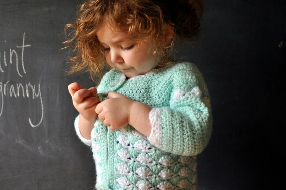 mint and white hand crochet vintage sweater, lovely cardigan for a toddler, size 18 mo,2t