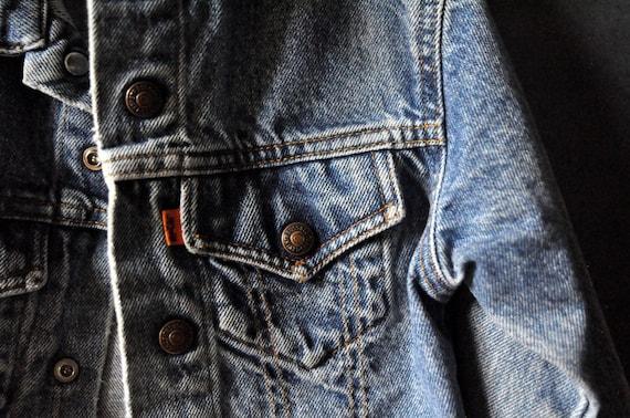 retro broken in Levi's kids denim jacket, size 7