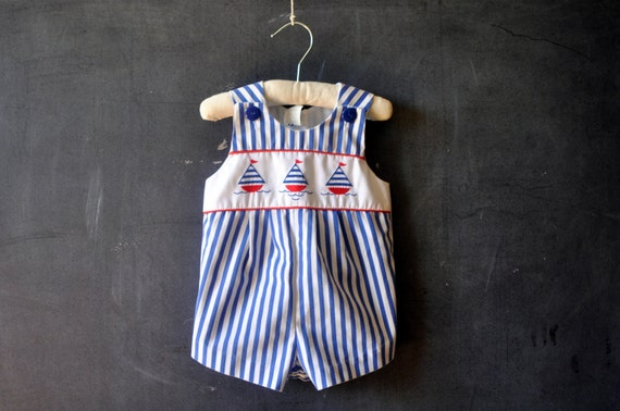 Vtg nautical blue and white striped baby romper, boy or girl, sailboats, size 3-6 months