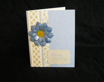 Birthday Card, Blue Flower on Lattice
