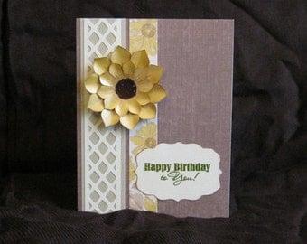 Birthday Card, Sunflower on Lattice