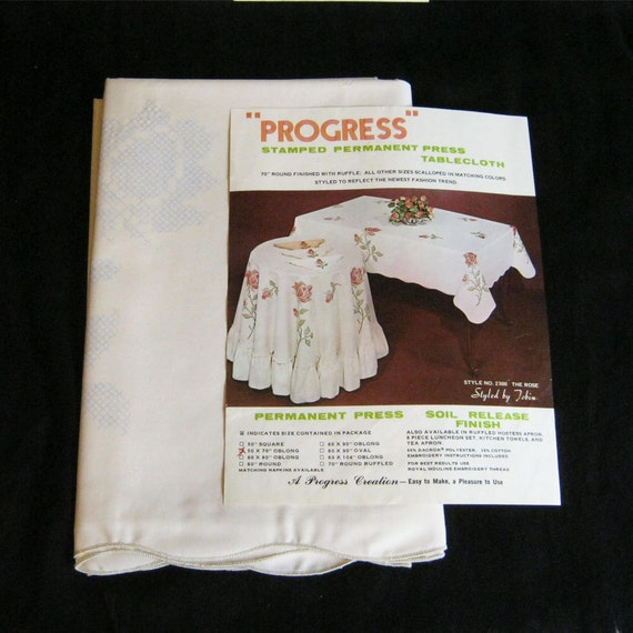 Tablecloth Kit, Roses Stamped Cross Stitch