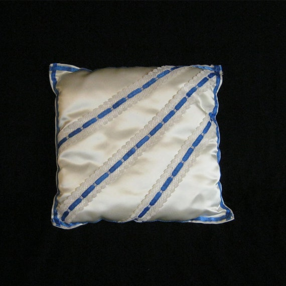 Ivory Satin Pillow with Blue Trim