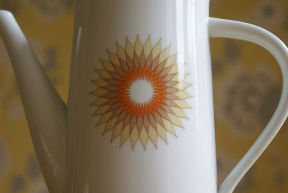 Noritake Retro Part Coffee Set 60s/70s Mesa 6370 Sunburst Pattern