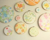 Last Sets- Fabric Wall Art, Embroidery Hoop, Nursery Decor, Bridal Shower Favors, Fabric Collage Decorations
