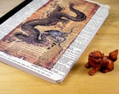Upcycled Notebook or Journal with Dragon Altered Dictionary Page