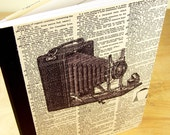 Journal Notebook Upcycled with Altered Dictionary Page with Vintage Camera
