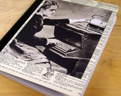 Diary Journal Upcycled from an old book about Inventions - Typewriter and Printing Press