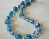 X'mas sale-Turquois color lampwork beads necklace