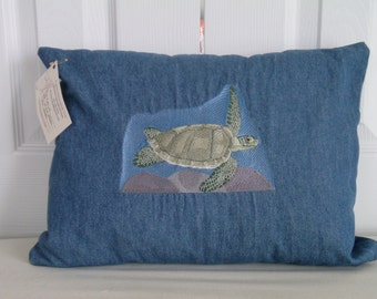 "16x12 Embroidered Pillow of a ""Sea Turtle"""