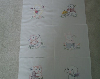 Vintage Animal Quilt Squares - set of 8