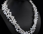 Three Strand Cornflake Pearl Necklace - Reserved for Mary (mlbw55)