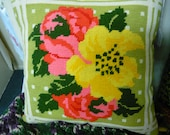 Flowers Neddlepoint Throw Pillow Ready to Ship