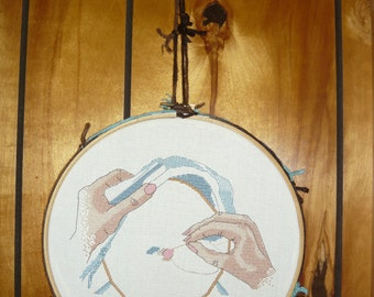 Sewing Hands Cross Stitch Finshed Hoop