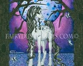 White Unicorn Lost in the Forest Fantasy Art Print by Charity Dauenhauer