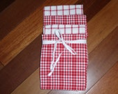 4 Hand Made Kitchen Towels..Country Kitchen ..Red