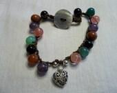 Colorful Crochet Beaded Bracelet...Charming...Southwestern...Bohemian...Silver Heart Charm