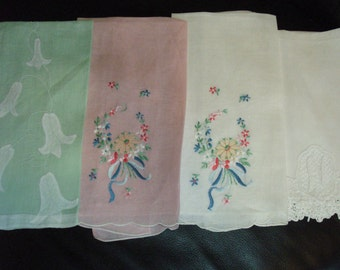 "4 Vintage Fingertip..show sowels hand embroidered, applique, lace, mono""N"""