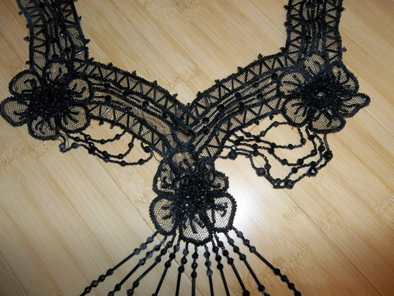 """HUGE Antique Victorian Jet Applique ...Hand Made...Perfect Condition...16"""" by 18"""""""