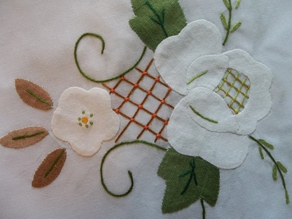 Banquet Tablecloth with 12 Matching Napkins....New Old Stock...Hand Embroidered