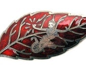 Siam Sterling Silver and Red Enamel Leaf Shaped Pin