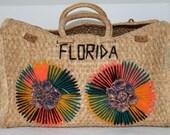 Vintage Florida Raffia Straw Bag
