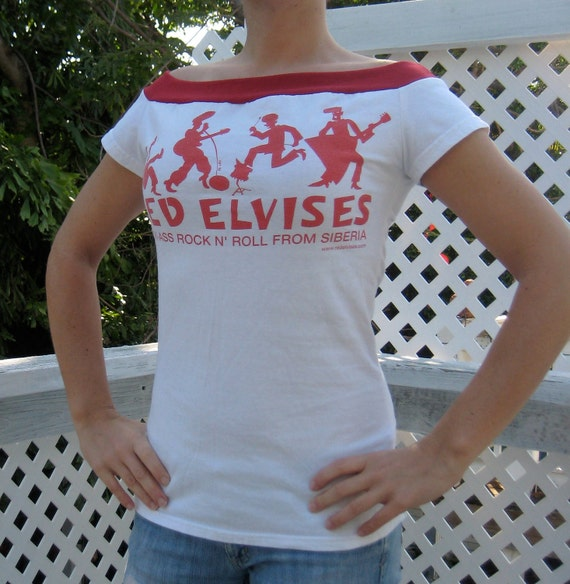 Off-the-Shoulder/Boat Neck Recycled T-Shirt: Red/White Red Elvises, Rock n' Roll from Siberia