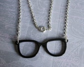 Black Rimmed Hipster Glasses Long Necklace ON SALE