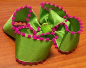 CLEARANCE- Boutique Pom Pom bow (lime green and shocking pink)