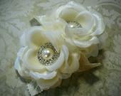 Wedding Flower Clip Ivory Flower Clip Bridal Clip Rhinestone Flower Clip Veil Clip Flower Girl Clip Flower Hair Piece Bridal Accessories