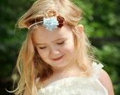 Pom Pom collection. Aqua and brown shabby chic pom pom puff flower headband. Aqua. Chocolate brown. Limited quantity.